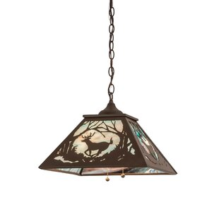 Meyda Tiffany Greenbriar Oak Deer At Dawn 2-Light Dome Pendant