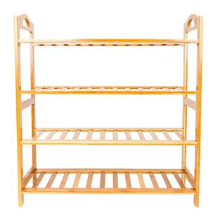 Low priced Concise 12-Batten 4 Tiers Bamboo 12 Pair Shoe Rack By Rebrilliant