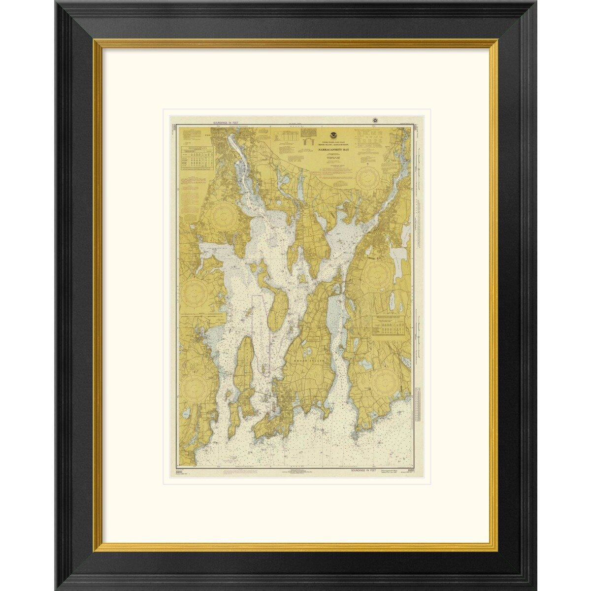 Global Gallery Nautical Chart Narragansett Bay Ca 1975 Sepia Tinted Framed Graphic Art Wayfair