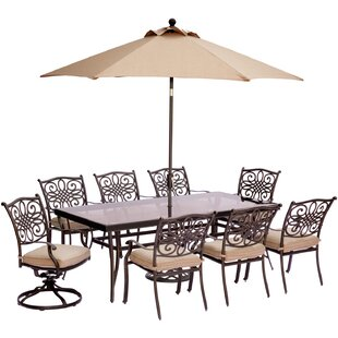 Carleton 9 Piece Glass Top Dining Set with Cushions