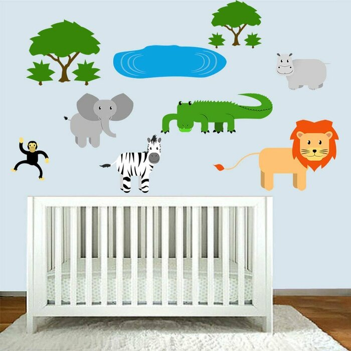 Safari Nursery Animals Jungle Stickers For Kids Playroom Wall Decal