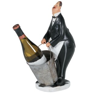 Byromville Butler in Black Tuxedo 1 Bottle Tabletop Wine Rack by Fleur De Lis Living
