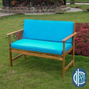 Sabbattus Wood Garden Bench with Cushions by Breakwater Bay