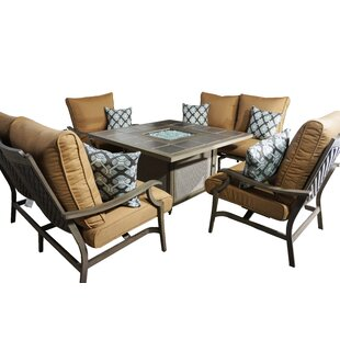 Feng 5 Piece Deep Sunbrella Conversation Set With Cushions
