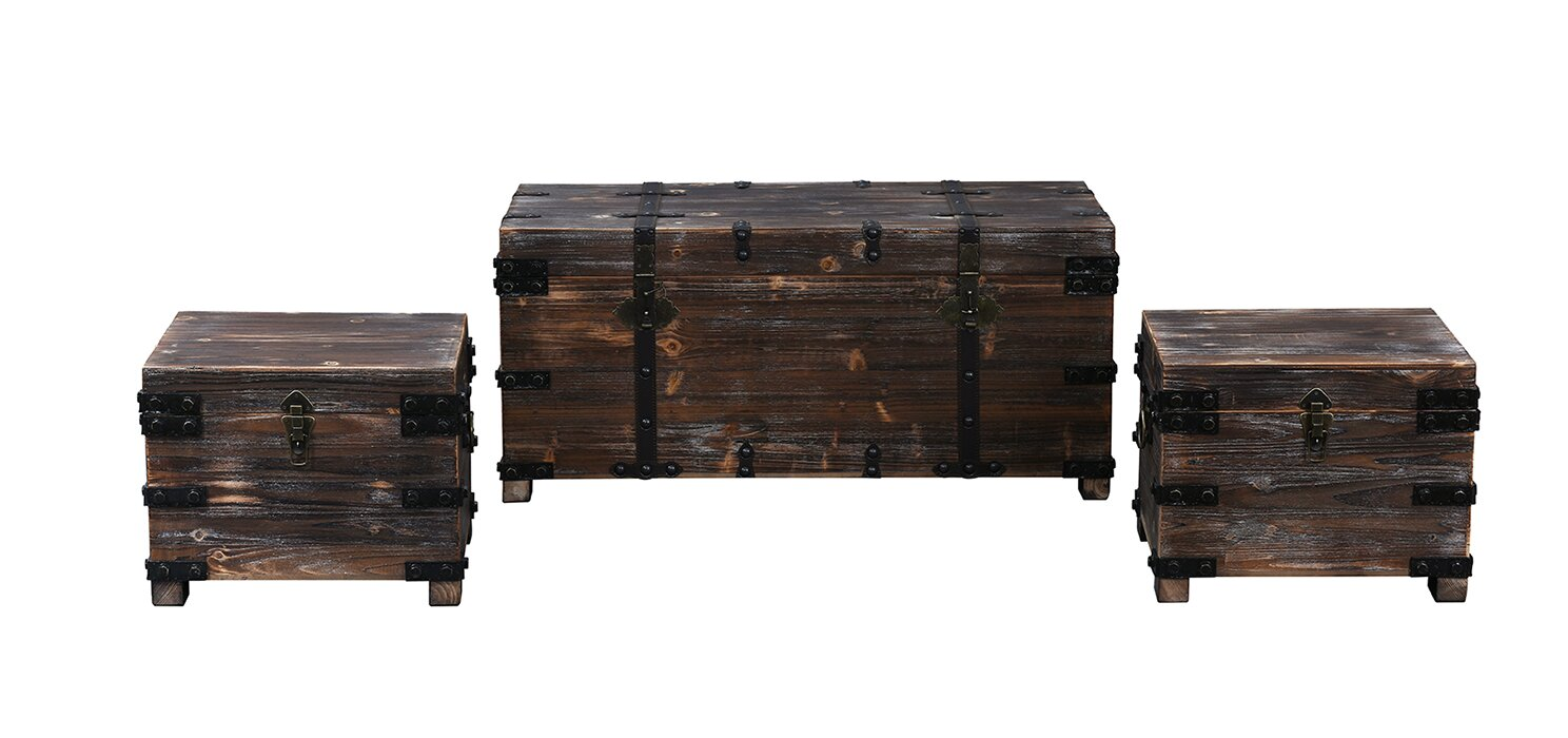 Boniface 3 Piece Distressed Real Wooden Living Room Trunk Set