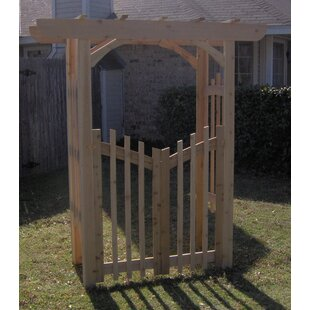 Threeman Products Decorative Cedar Wood Arbor with Gate