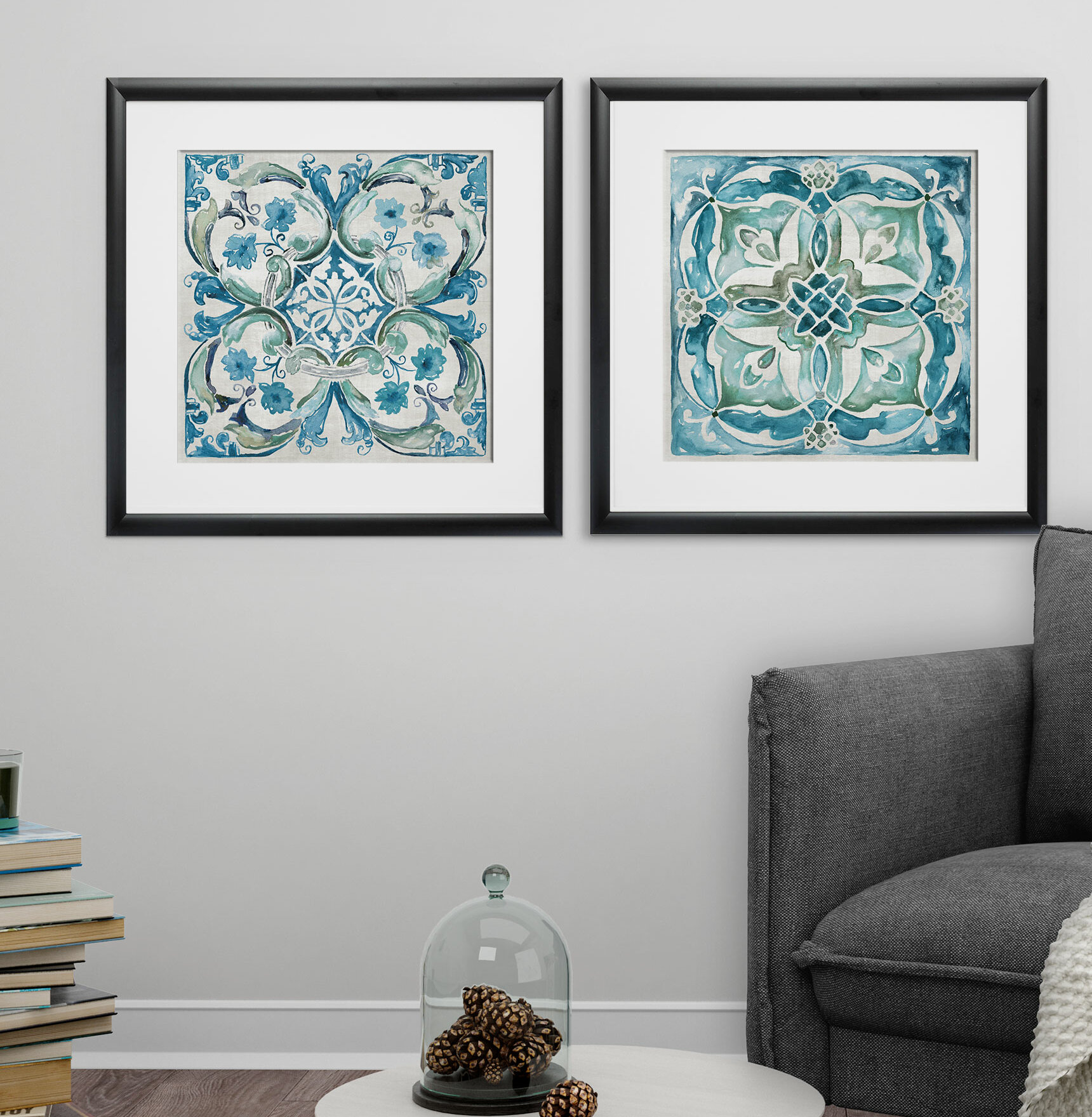 Caribbean Tile\' 2 Piece Framed Print Set | Joss & Main