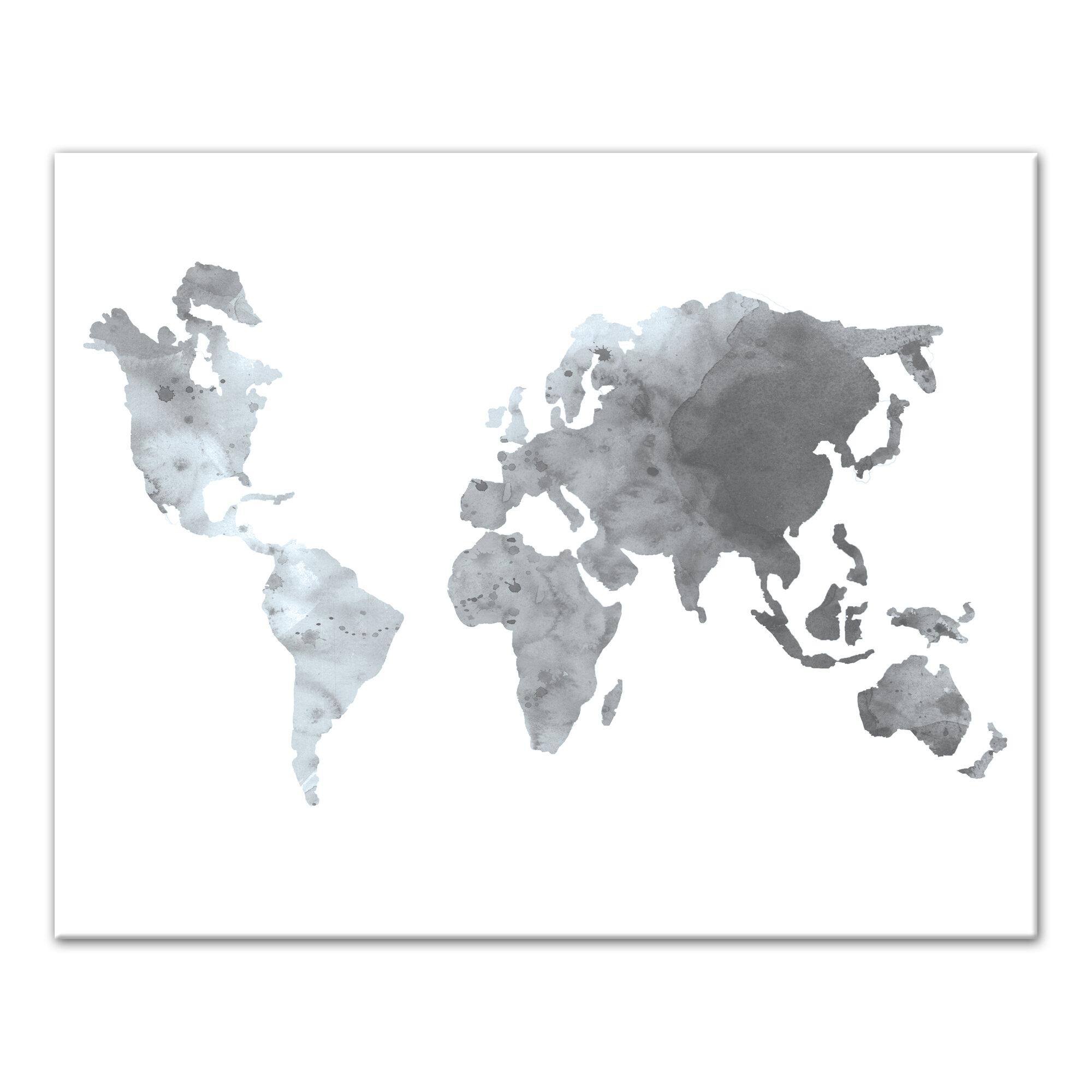 Bloomsbury Market \'Gray World Map\' Watercolor Painting Print | Wayfair