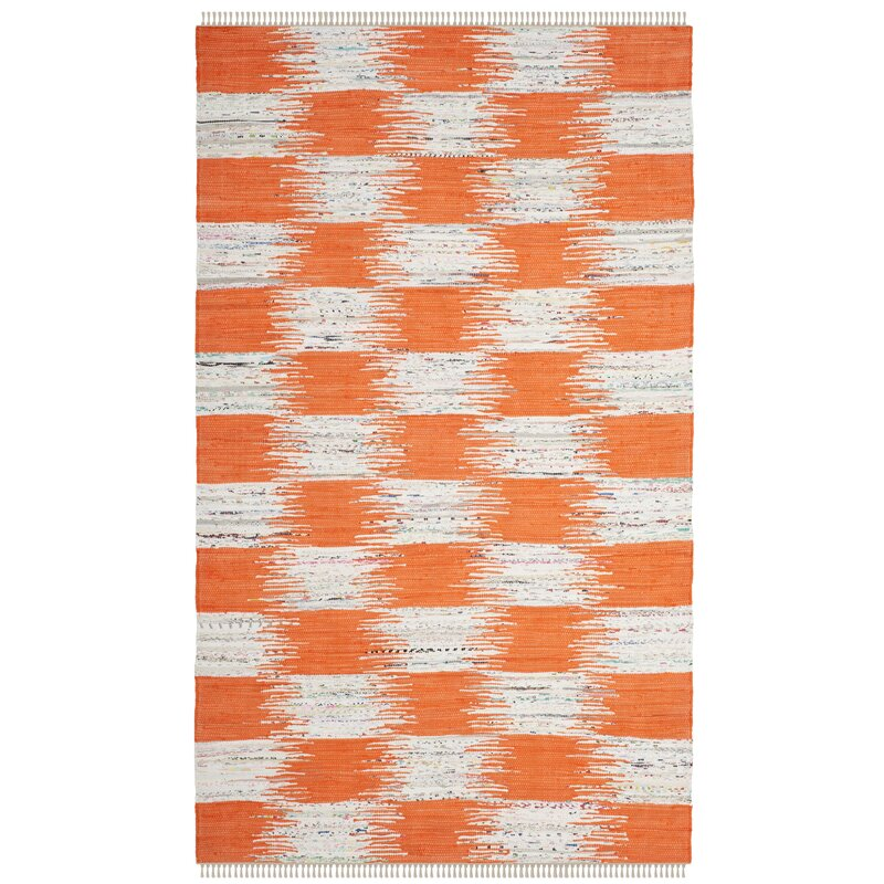 August Grove Opie Hand-Knotted Cotton Orange/Gray Area Rug, Size: Rectangle 8 x 10