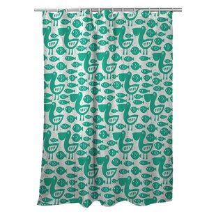 Poplar Pelican & Fish Single Shower Curtain