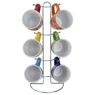 6 Piece Polka Dots Mug Set with Stand