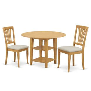 Tyshawn 3 Piece Drop Leaf Breakfast Nook Solid Wood Dining Set Charlton Home
