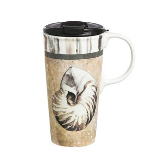 Maura Sand and Sea Ceramic 17 oz. Perfect Cup with Metallic Accents with Box