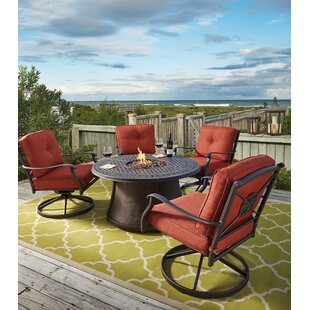 Darby Home Co Hanson 5 Piece Dining Set with Firepit