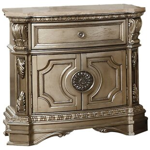 Sulligent Marble Top 1 Drawer Nightstand