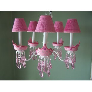 Teen girls chandelier wayfair glamour girl crowns 5 light shaded chandelier mozeypictures Image collections