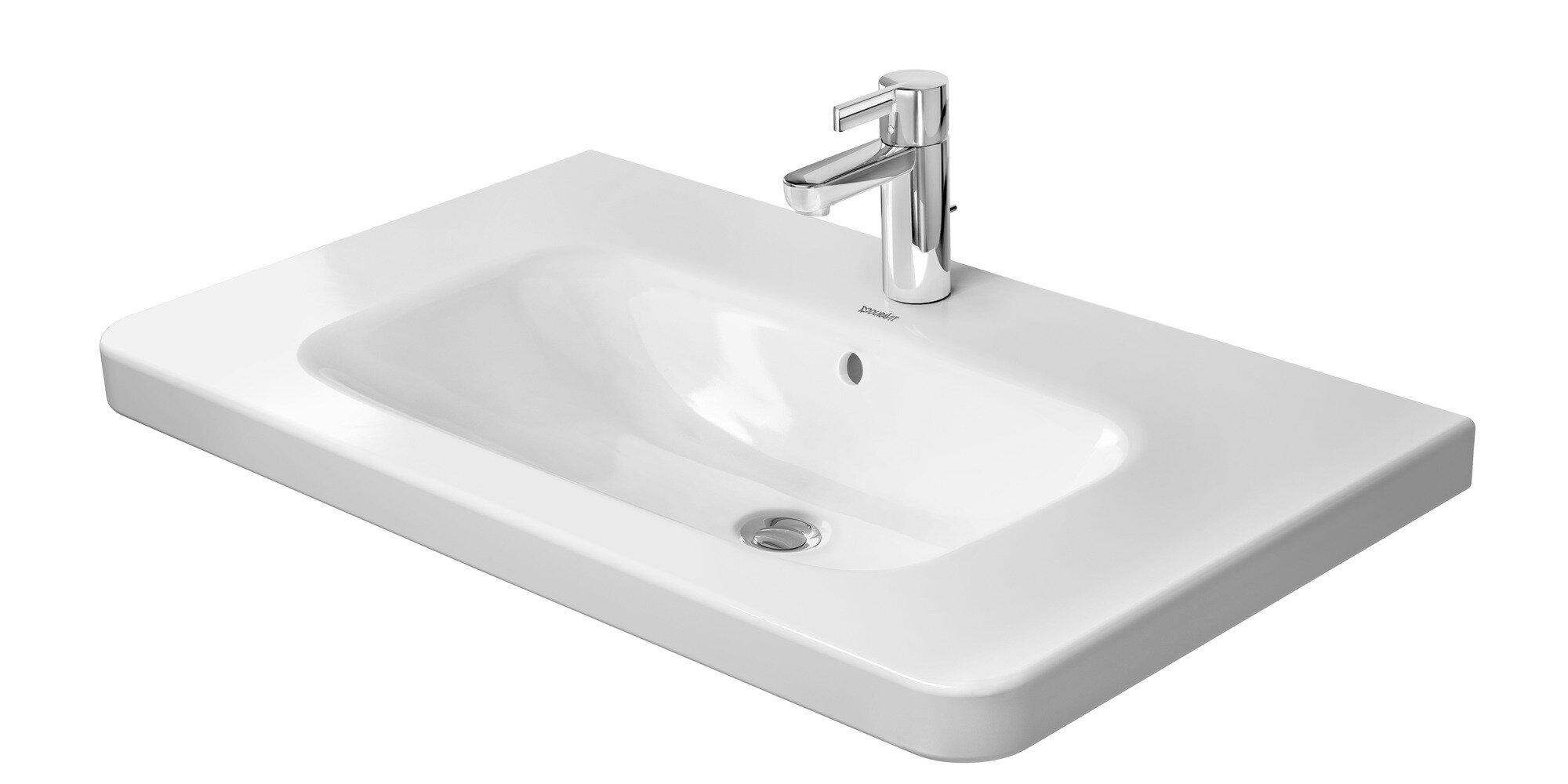 Duravit White Ceramic Rectangular Wall Mount Bathroom Sink With Overflow Wayfair