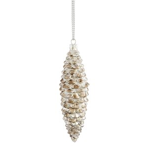 Snowy Pine Cone Shaped Ornament (Set of 12)