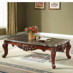 Anner Traditional Rectangular Wood and Marble Coffee Table
