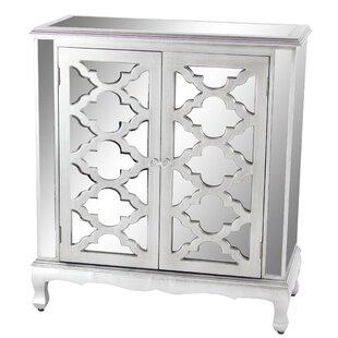 Rosdorf Park Marley Modern with Mirrored Panels Lattice-Designed 2 Door Accent Cabinet