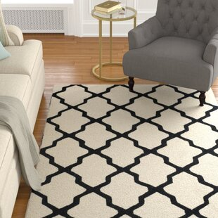 Check Prices Gillam Hand-Tufted Wool Ivory/Black Area Rug By Charlton Home