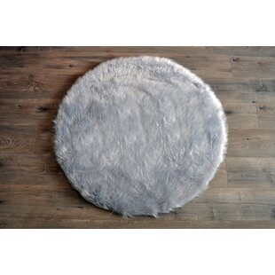 Affordable Deshazo Faux Sheepskin Gray/White Area Rug By Harriet Bee