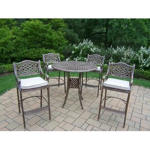 Oakland Living Mississippi 5 Piece Bar Height Dining Set with Cushions