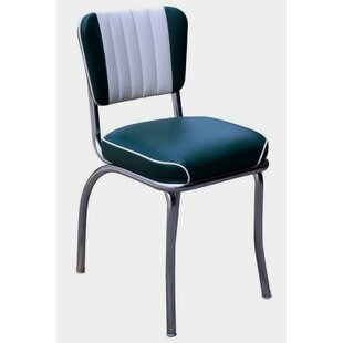Retro Home Side Chair with Two Toned Channel Back Upholstered Dining Chair