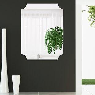 frameless bathroom vanity mirror white countertop anahi frameless beveled design ovation reign rectangle scalloped bathroomvanity mirror bathroom vanity wayfair