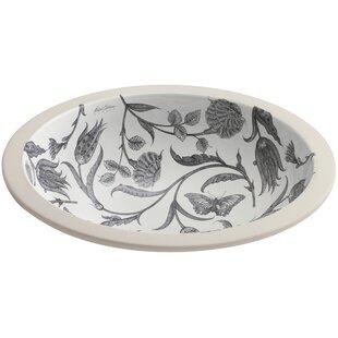 Botanical Study Ceramic Circular Undermount Bathroom Sink Kohler