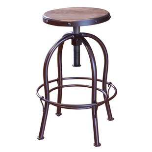 Guzik Adjustable Height Swivel Bar Stool by Williston Forge
