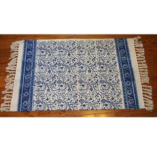 One-of-a-Kind Knox Floral Block Printed Handmade 2' x 3' Dhurrie Cotton Blue/White Area Rug By August Grove