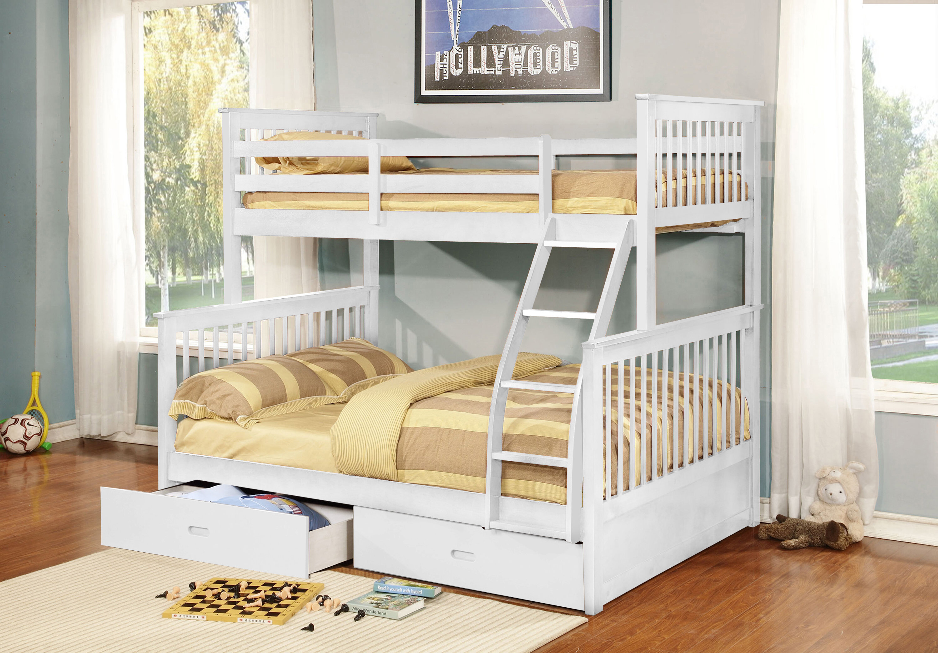twin bed pc product white bunk image beds belmar full loft br