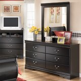 Carpenter 6 Drawer Double Dresser with Mirror by Three Posts™