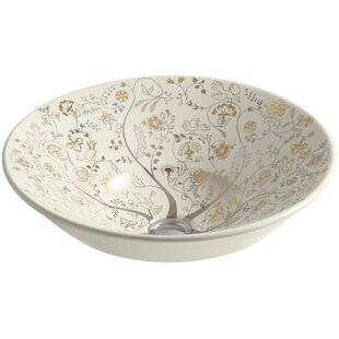 Kohler Mille Fleurs Ceramic Circular Vessel Bathroom Sink