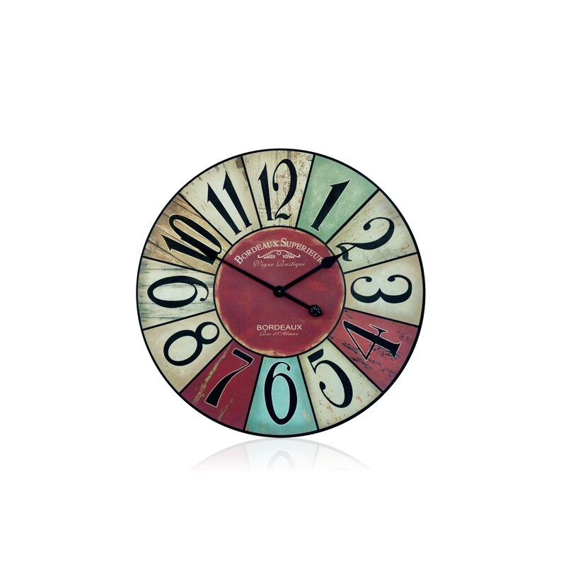 """Rusty Turquoise Round Metal Wall Clock Shabby Chic Home Decor Large 24/"""""""