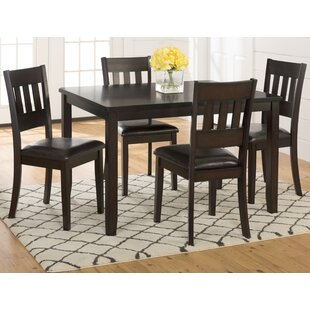 Adan 5 Piece Solid Wood Dining Set (Set of 5) Millwood Pines