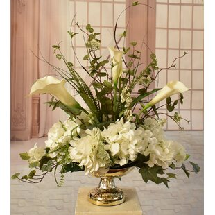 Calla Lily Silk Hydrangea And Orchid Centerpiece In Decorative Vase