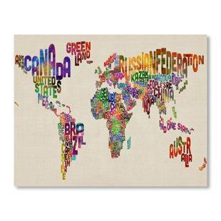 world map word wall mural