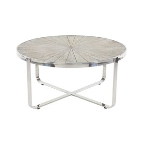 Purin Contemporary Pine Wood and Stainless Steel Radial Coffee Table by 17..