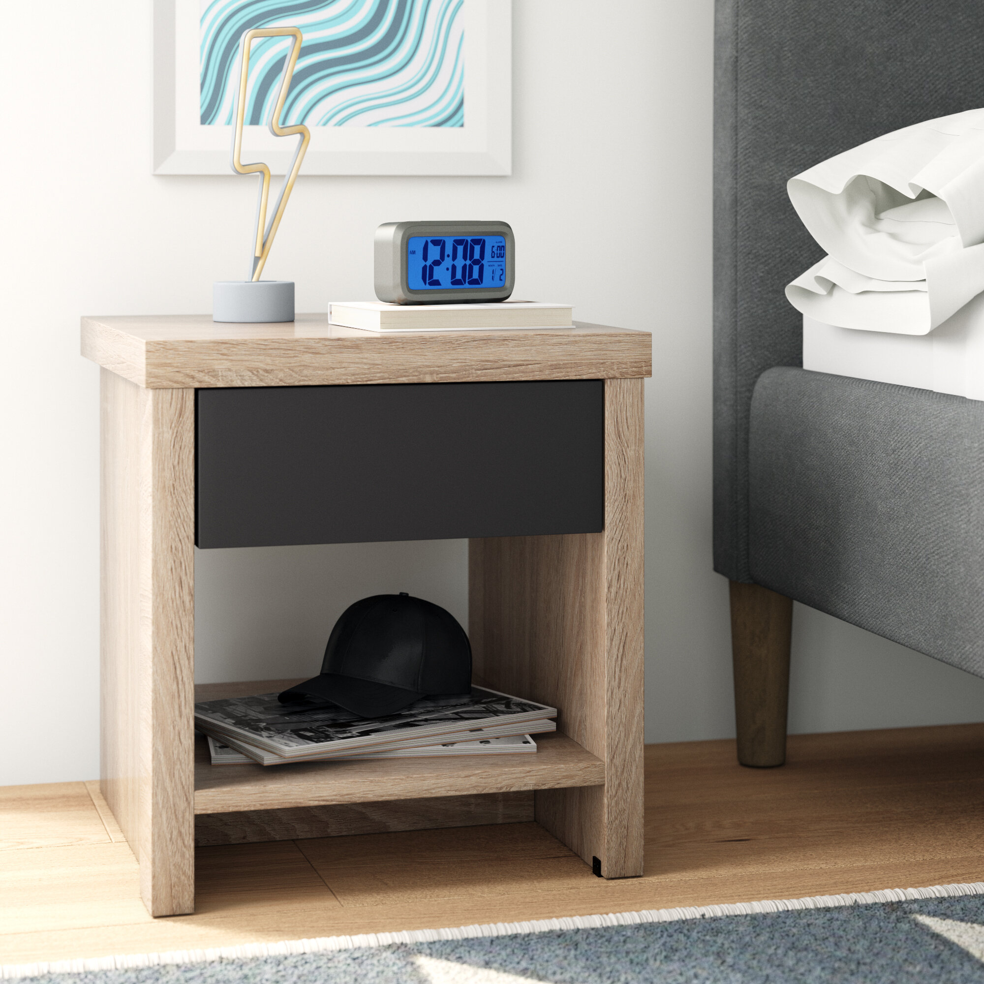 Bedside Tables Home Kitchen Oak Wood Bedside Table With 1 Drawer Devaise Nightstand