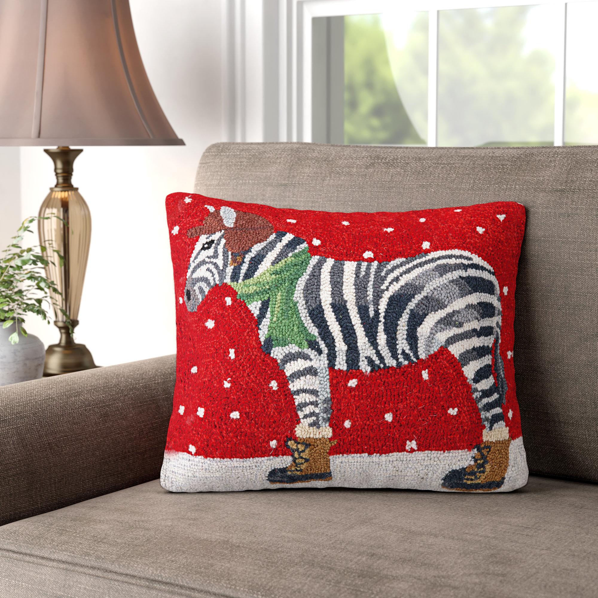 Three Posts Versailles Winter Zebra Hook Wool Throw Pillow Reviews Wayfair
