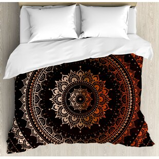 East Urban Home Mandala Ethnic Indian Circle Universe and Cosmos Symbolism Icon Image Duvet Set