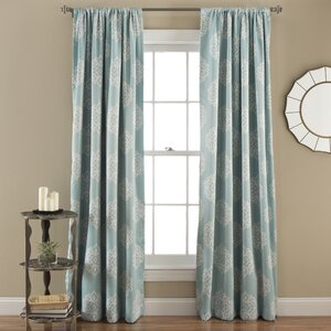 Cowden Damask Room Darkening Thermal Rod Pocket Curtain Panels (Set of 2)