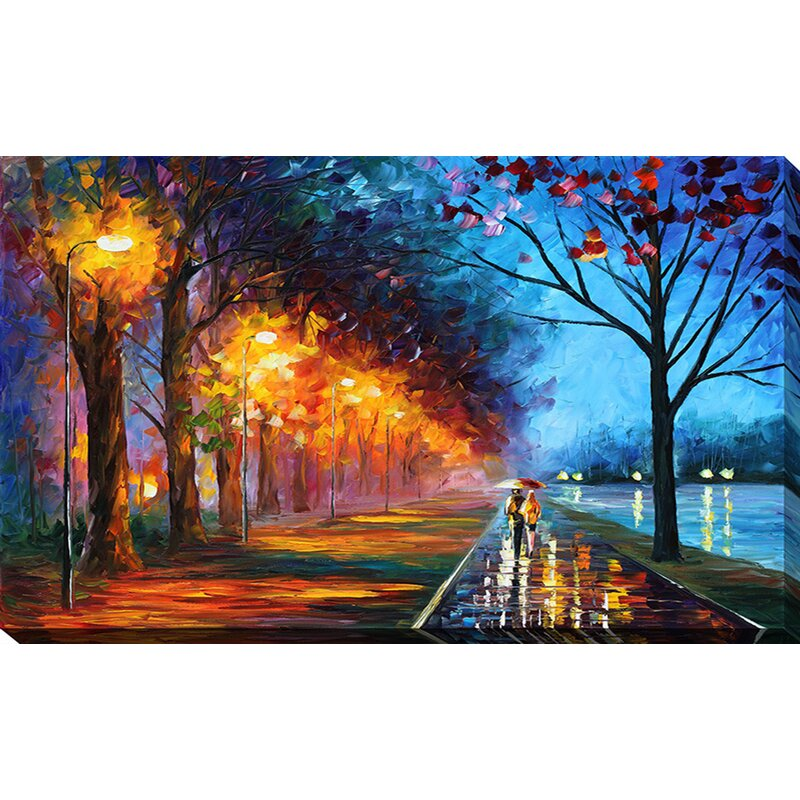 Pictureperfectinternational Alley By The Lake By Leonid Afremov Painting Print On Wrapped Canvas Reviews Wayfair