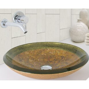 Bargain Janus Glass Circular Vessel Bathroom Sink with Faucet By VIGO