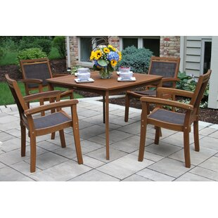 Beachcrest Home Mallie Tapered Square Wood 5 Piece Dining Set
