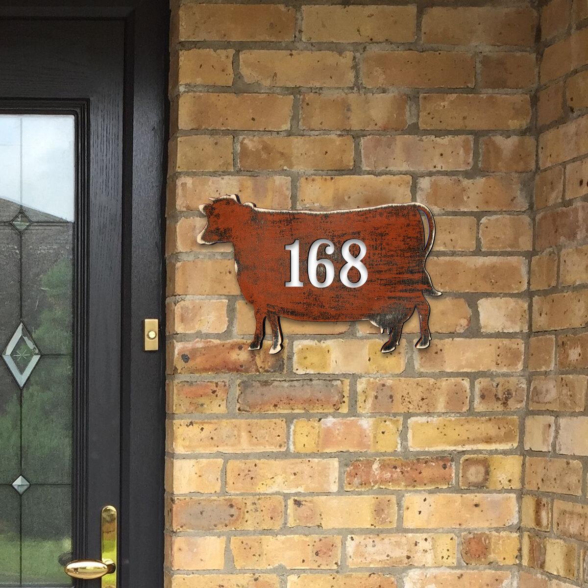Designocracy Cow House Door Wall Mailbox Address Number 1 Line Plaque Wayfair