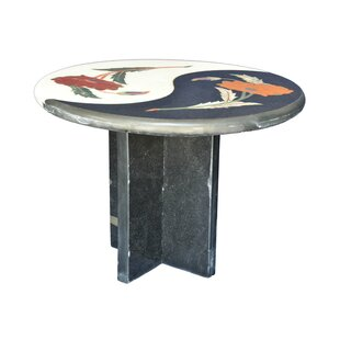 Floral Inlay Marble Side Table