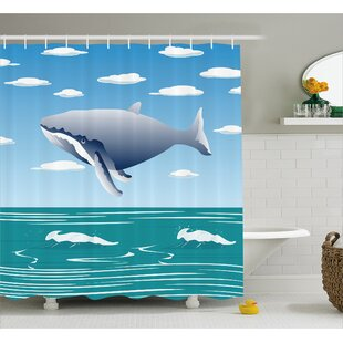 Lottie Cartoon Ocean Whale Shower Curtain